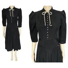 Vintage 1940s Dress, Faux Pearl Button Front