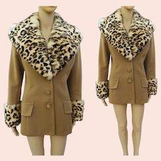 Vintage 1960s LILLI ANN Jacket | Leopard Dyed Rabbit Fur Collar and Cuffs | Designer 60s Jacket