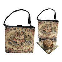 Vintage 1940s Petit Point Purse With Matching Compact, Couple Holding Hands Surrounded with florals