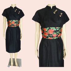 OUTSTANDING Vintage 1950s Black Wiggle Dress, Oriental Flare, Colorful Roses