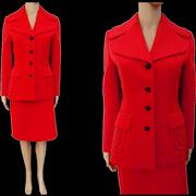Vintage 1960s Red Lilli Ann Suit, Paris Lilli Ann San Francisco