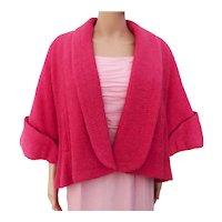 Vintage 1950s Short Pink Wool Swing Coat 50s Swing Jacket