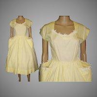 Vintage 1950s Dress  .  New Look .  Full Skirt  .  Yellow . 60s Dress