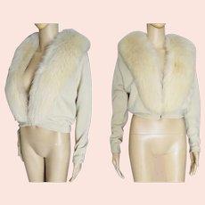 "1950s 50s Beige Bernard Altman Cashmere Cardigan Sweater Fox Fur Trim Bust 42"""