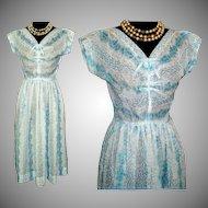 Vintage 1950s Dress  .  Sheer .  50s Dress . Designer .  Couture Femme Fatale