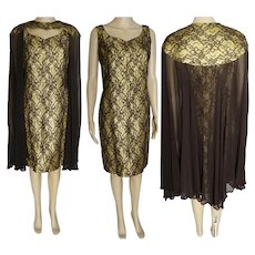 Iconic LILLI DIAMOND 1960s Dress / Gold Metallic / Brown Lace / Matching Sheer Cape /