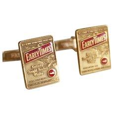 Men's Vintage Gold Cufflinks / Marked Early Times Kentucky Whisky / 60s Advertisement Cufflinks