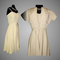 Vintage 1950s Dress  .  Matching Bolero Jacket  . Vintage  . Crème .  Rhinestone  . Couture