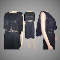Vintage 1950s Dress . Couture . Black . Wiggle . Cocktail Dress . Mad Man . Femme-Fatale Rockabilly Garden Party