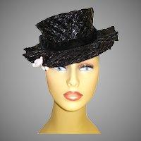 Vintage 1930s Hat  .  Black Tilt Hat  .  Steampunk  .  Art Deco .  Art Nouveau