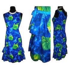 Vintage 1950s Dress  . Kamehameha  . 50s Dress  .  Hawaiian