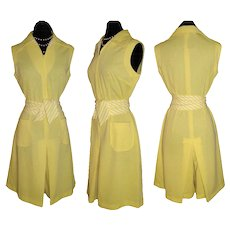 Vintage 1960s Dress  .  60s  Culottes  .  Yellow  .  NOS