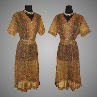 Vintage 1950s Dress  .  Louisa Alcott  .  Plus Size  . NOS  . Sheer
