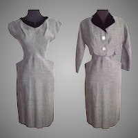 Vintage 1950s Dress . Bolero Jacket Gray Hourglass Couture Femme Fatale