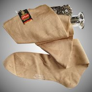 1920s Seamed Stockings  . Unworn  . Opaque Cotton, Tags Attached