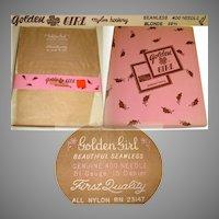 Vintage Stockings 3 Pair Original Box Golden Girl 10 1/2 Blonde Nylons Stockings