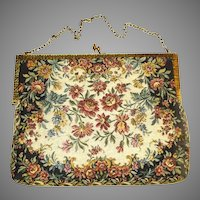 Vintage 1940s Purse . Petite Point  .  1950s  .  DeLill-Made in France  .