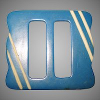 Vintage 1920s Belt Buckle . Blue . Art Deco . Carved