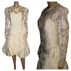 Vintage 1980s Dress . Designer Nancy Bracoloni . Vintage Wedding Dress . Cocktail Party Dress . Party Dress