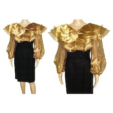 Vintage 1980s Dress . Designer Gold Chiffon Velvet Couture