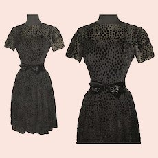 Vintage 1950s Dress . Black Illusion Couture New Look