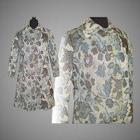 Vintage 1960s Tapestry Coat . Blue Floral