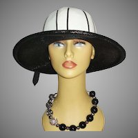 Vintage 1960's Hat  . Black & White . Wide Brim .  60s Hat