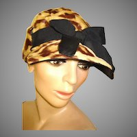Vintage Leopard Faux Fur Hat  .  Mad Men Garden Party Rockabilly