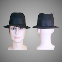 Vintage Fedora Men's Hat . 1950s . 50s Fedora Hat . Dark Gray