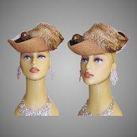 Vintage 1940s Hat . Designer . Pheasant . Bird . Feathers . Art Deco Art Nouveau Couture Elegant Swing Jive