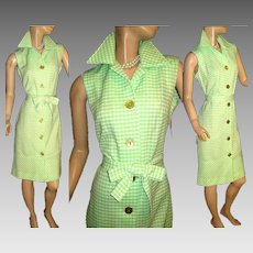 Vintage 1960s Dress  .  Green  .  Lady Carol of New York  .  Shift