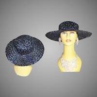 1950s Navy Blue Hat . Wide Brim . Raffia . Garden Party . 50s hat - Couture . 50s Hat