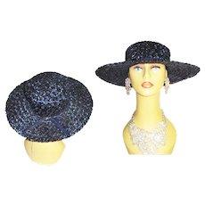 1950s Navy Blue Hat . Wide Brim . Raffia . Garden Party . 50s hat - Couture . 50s Hat