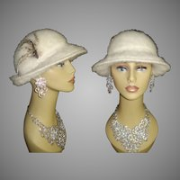 Vintage 1960's Hat . Off White . Garden Party , Mad Men . 60s Hat . Rockabilly . Garden Party . Femme Fatale