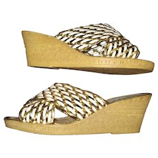 Vintage 1970s Shoes . Cork . Wedges . Gold and White . Made in Itally . Open Toe