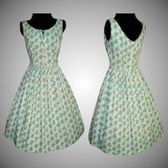 Vintage 1950s Dress . 50s Dress . Mod . New Look . Femme Fatale Garden Party - Blue - Floral