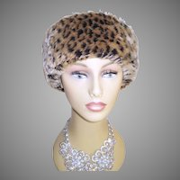 Vintage Faux Leopard Hat . Betmar . New York . Mad Men . Garden Party . Rockabilly .