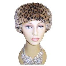 Vintage Faux Leopard Hat . Betmar . New York . Mad Men . Garden Party . Rockabilly .