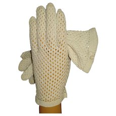 Vintage 1950s Gloves . Crocheted . Rockabilly . Mod . Gown Wedding Garden Party Mad Men Cocktail Prom