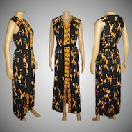 Vintage 1960s Dress . Maxi . Bohemian . Couture . Garden Party . Retro . Drazens . City of Fashion . Gown