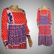 Vintage 1960's Dress . Maxi . Bohemian , Red . White . Blue . Cotton . Patriotic . Embroidered Goddess . Boho . Wedding Gown
