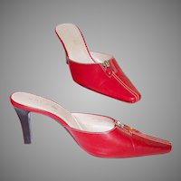 Vintage Stiletto Heels . 1990s . Red . Zipper Front Ornamentation - Never Worn