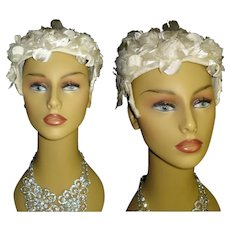 Vintage 1950s Hat . Floral . Off White . Headband . Garden Party Mad Men Rockabilly Garden Party Femme Fatale Couture