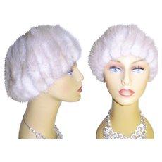 Vintage Mink Hat . Real mink . Silver Mink Hat
