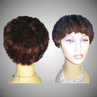 Vintage Mink Hat . Real mink . Dark Sable Mink Hat