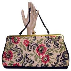 Vintage 1950s Purse Needlepoint Handbag tmad men rockabilly swing bombshell pinup garden party dress designer mid century