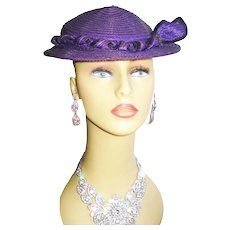 Vintage 1950s Hat Purple Femme Fatale Couture Mad Men Garden Party Rockabilly Pinup Bombshell Dress