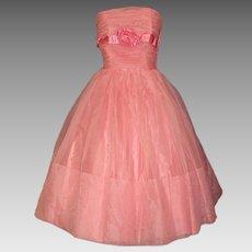 Vintage 1950s Dress .  Party Dress  . Strapless
