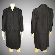 1950s Suit - 2 Piece - Jacket Swing Back - Black