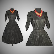 Vintage 1950s Dress . Couture . Full Circle Skirt . Black . Femme Fatale Garden Party Mad Men Cocktail Rockabilly Ballerina